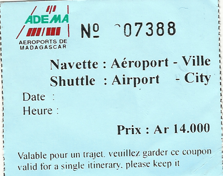 Ticket navette aéroport