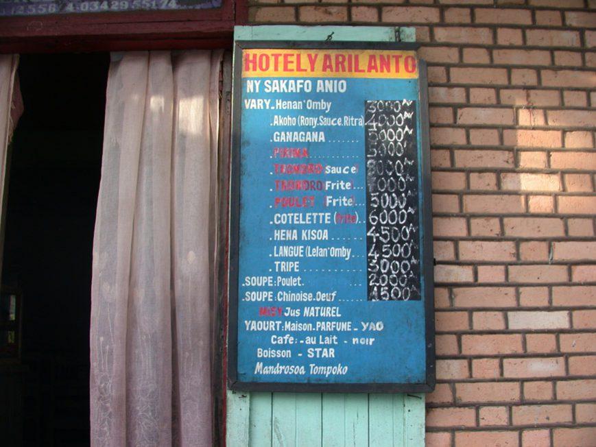 Le menu d'une gargote
